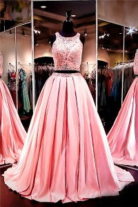 Ball Gown Scoop Neck Two Piece Long Watermelon Satin Lace Beaded Prom Dress