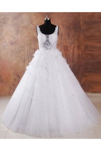 Ball Gown Scoop Neck V Back Tulle Lace Applique Beaded Wedding Dress