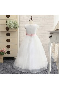 Ball Gown Square Neck Cap Sleeve Organza Flower Girl Dress With Sash