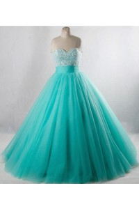 Ball Gown Strapless Aqua Tulle Beaded Prom Dress Lace Up Back