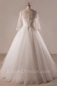 Ball Gown Strapless Lace Tulle Plus Size Wedding Dress With Long Sleeve Jacket Without Train