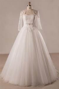 Ball Gown Strapless Lace Tulle Plus Size Wedding Dress With Long Sleeve Jacket