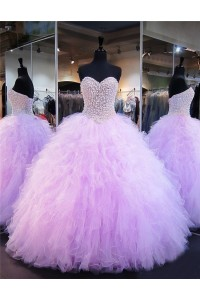 Ball Gown Strapless Lilac Tulle Ruffle Pearl Beaded Quinceanera Prom Dress