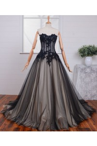 Ball Gown Strapless See Through Black Tulle Lace Beaded Corset Prom Dress