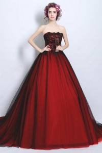 Ball Gown Strapless Tulle Lace Black And Red Gothic Wedding Dress Cathedral Train