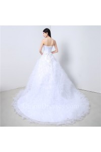 Ball Gown Strapless Tulle Ruffle Crystal Beaded Wedding Dress Corset Back