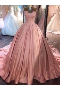 Ball Gown Sweetheart Blush Pink Lace Satin Wedding Dress Chapel Train