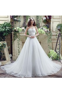 Ball Gown Sweetheart Chapel Train Organza Crystal Beaded Wedding Dress Lace Up Back
