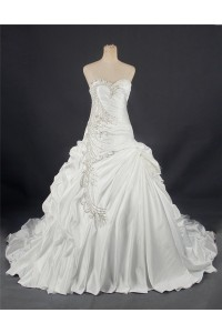 Ball Gown Sweetheart Corset Back Draped Satin Wedding Dress With Crystals Beading