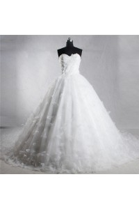 Ball Gown Sweetheart Corset Back Organza Flower Wedding Dress Chapel Train