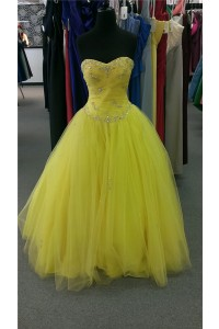 Ball Gown Sweetheart Corset Back Yellow Tulle Beaded Prom Dress