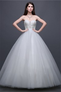 Ball Gown Sweetheart Empire Waist Tulle Lace Beaded Wedding Dress Without Train