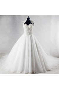Ball Gown Sweetheart Sheer Back Tulle Beaded Pearl Wedding Dress With Collar