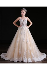 Ball Gown Sweetheart Spaghetti Straps Champage Tulle Lace Wedding Dress