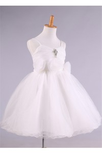 Ball Gown Sweetheart Strap Puffy Flower Girl Dress With Bow Crystals