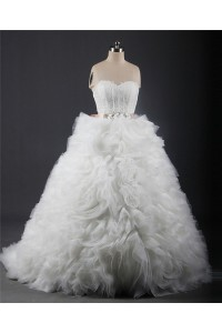 Ball Gown Sweetheart Tulle Ruffle Layered Wedding Dress With Sash