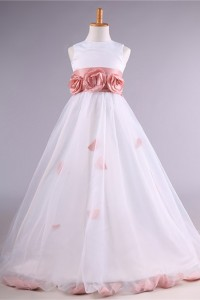 Ball Gown Taffeta Tulle Flower Girl Dress With Floral Sash