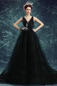 Ball Gown V Neck Backless Black Tulle Gothic Wedding Dress