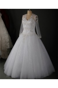 Ball Gown V Neck Keyhole Back Long Sleeve Tulle Lace Wedding Dress Without Train