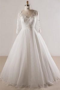 Ball Gown V Neck Long Sleeve Plus Size Lace Wedding Dress Keyhole Back No Train