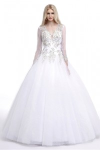 Ball Gown V Neck Open Back Tulle Embroidery Beaded Wedding Dress With Long Sleeves