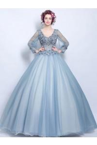 Ball Gown V Neck Sheer Sleeve Dusty Blue Tulle Flower Wedding Prom Dress