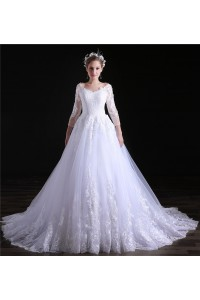 Ball Gown V Neck Three Quarter Sleeve Tulle Lace Wedding Dress