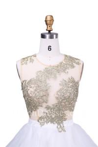 Ball Round Neck White Organza Gold Lace Tutu Cocktail Short Prom Dress