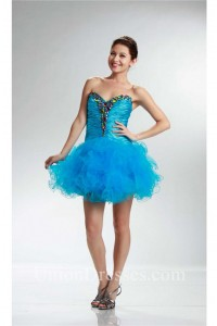Ball Strapless Short Turquoise Tulle Beaded Cocktail Prom Dress