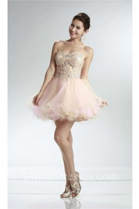 Ball Sweetheart See Through Short Champagne And Pink Tulle Layered Prom Dress