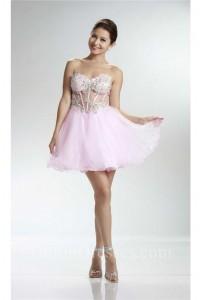 Ball Sweetheart See Through Short Light Pink Tulle Beaded Prom Dress