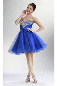 Ball Sweetheart Short Royal Blue Tulle Cocktail Prom Dress Corset Back