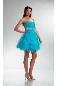Ball Sweetheart Short Turquoise Organza Ruffle Layered Cocktail Prom Dress