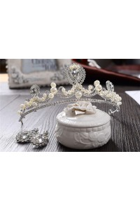 Beautiful Alloy Crystal Wedding Bridal Tiara Crown With Pearls