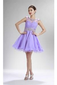 Beautiful Ball Cap Sleeve Open Back Short Lilac Chiffon Beaded Prom Dress