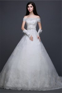 Beautiful Ball Gown Off The Shoulder Lace Beaded Wedding Dress With Sash