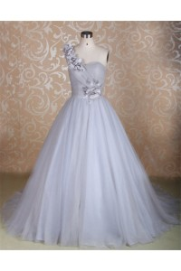 Beautiful Ball Gown One Shoulder Silver Tulle Flower Wedding Dress Lace Up Back