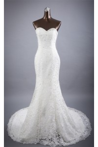Beautiful Mermaid Strapless Venice Lace Beaded Crystal Wedding Dress
