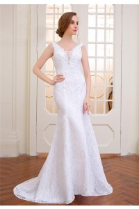 Beautiful Mermaid V Neck Sleeveless Lace Wedding Dress Lace Up Back