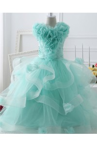 Beautiful Puffy Aqua Tulle Ruffle Flower Girl Party Prom Dress