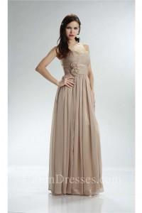 Beautiful Strapless Empire Waist Long Champagne Chiffon Bridesmaid Dress With Flowers