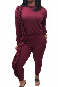 Casual Long Sleeve Ruffle Stretch Spring Winter Two Piece Women Jumpsuit