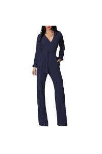 Casual V Neck Long Sleeve Navy Stretch Women Jumpsuit With Sash