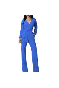 Casual V Neck Long Sleeve Blue Stretch Women Jumpsuit With Sash
