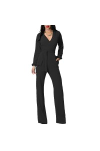Casual V Neck Long Sleeve Black Stretch Women Jumpsuit With Sash