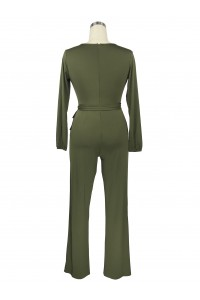 Casual V Neck Long Sleeve Olive Green Stretch Women Jumpsuit With Sash