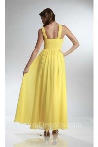 Charming Asymmetrical Strap Long Yellow Chiffon Ruched Bridesmaid Dress