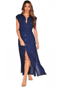 Charming Front Slit Ankle Length Royal Blue Chiffon Casual Dress With Sash
