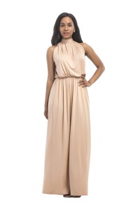 Charming Halter Bohe Khaki Jersey Casual Dress
