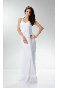 Charming Halter Empire Waist White Chiffon Destination Beach Wedding Dress pregnancy